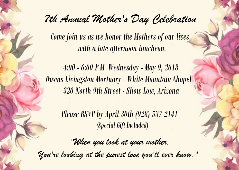 7th Annual Mother\'s Day Celebration | Snowflake/Taylor Chamber of ...