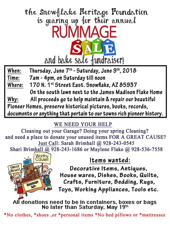 Snowflake Heritage Foundation Rummage Sale