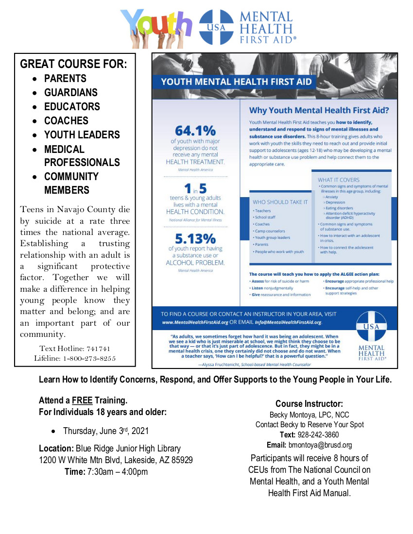 Why Youth Mental Health First Aid? @ Blue Ridge Jr. High Library | Pinetop-Lakeside | Arizona | United States