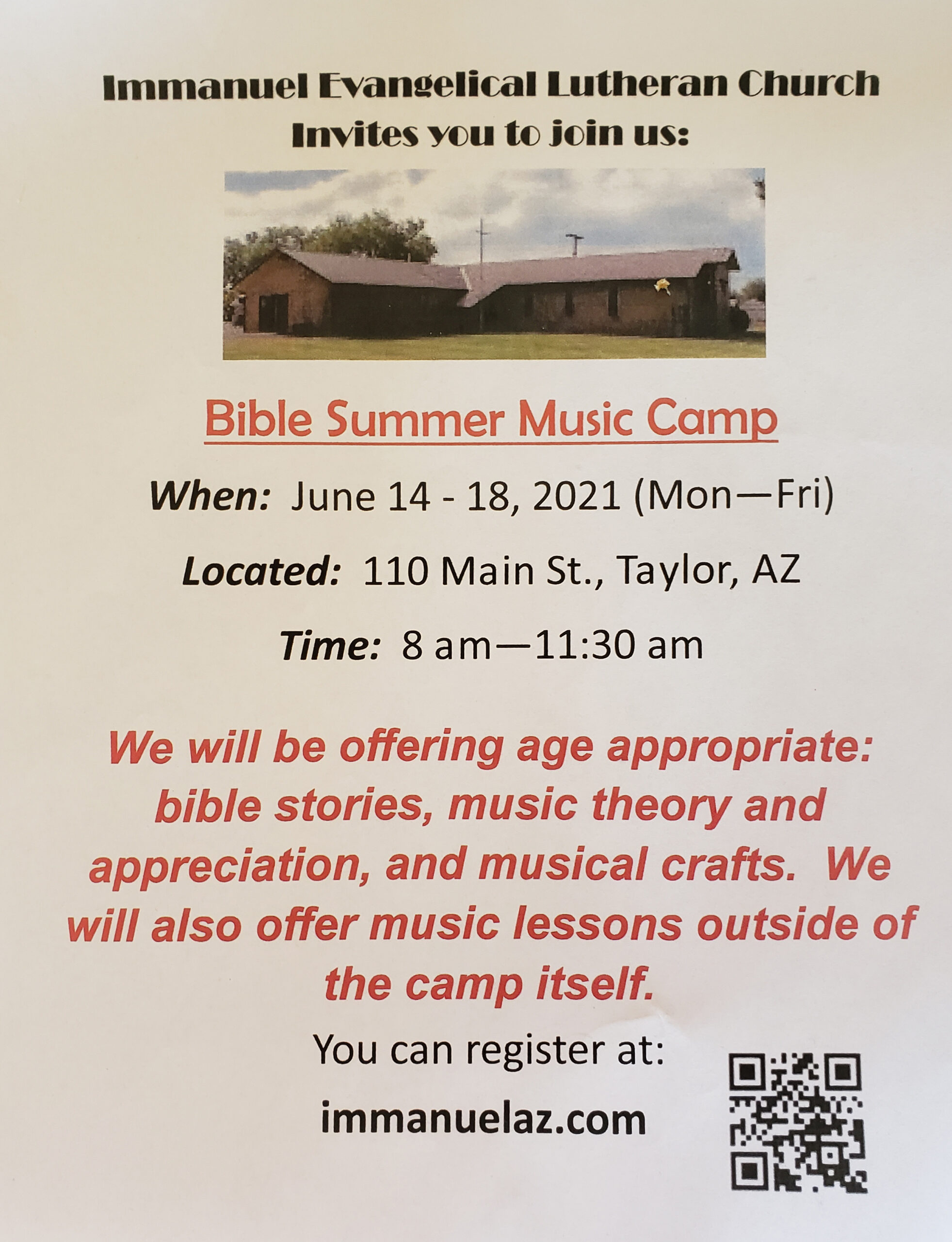 Bible Summer Music Camp @ Immanuel Evangelical Lutheran Church | Taylor | Arizona | United States